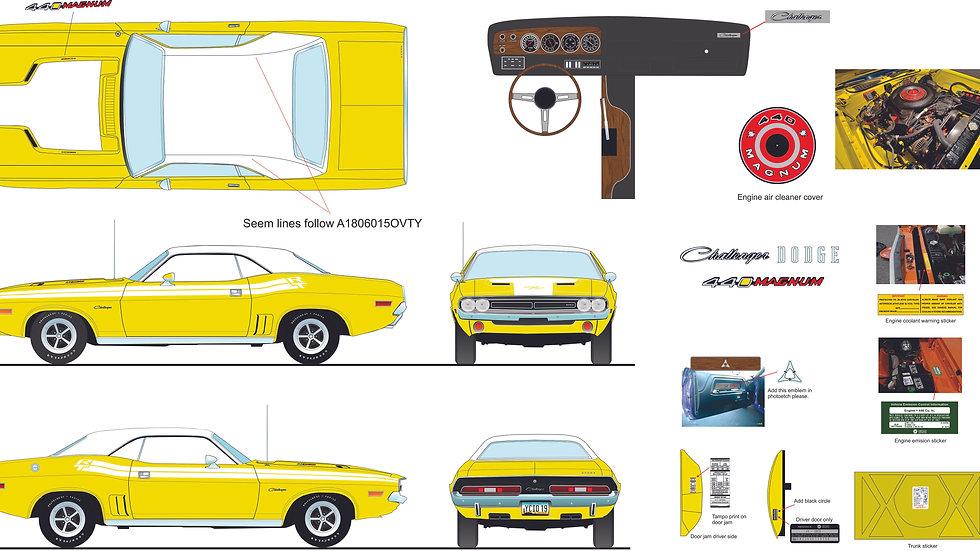 YCID #19, 1971 Challenger R/T, Citron Yellow, Vinyl Top