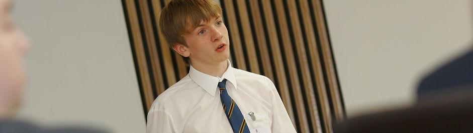 School pupil giving a speech