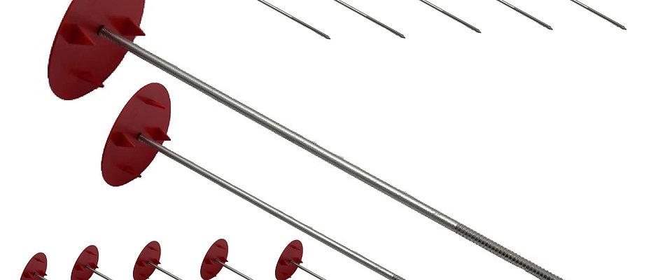12x verzinkte Vliesnägel, 33cm, Befestigungsnägel für Stroh- und Heuballenvlies