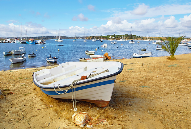 Portugal beachfront boats Algarve