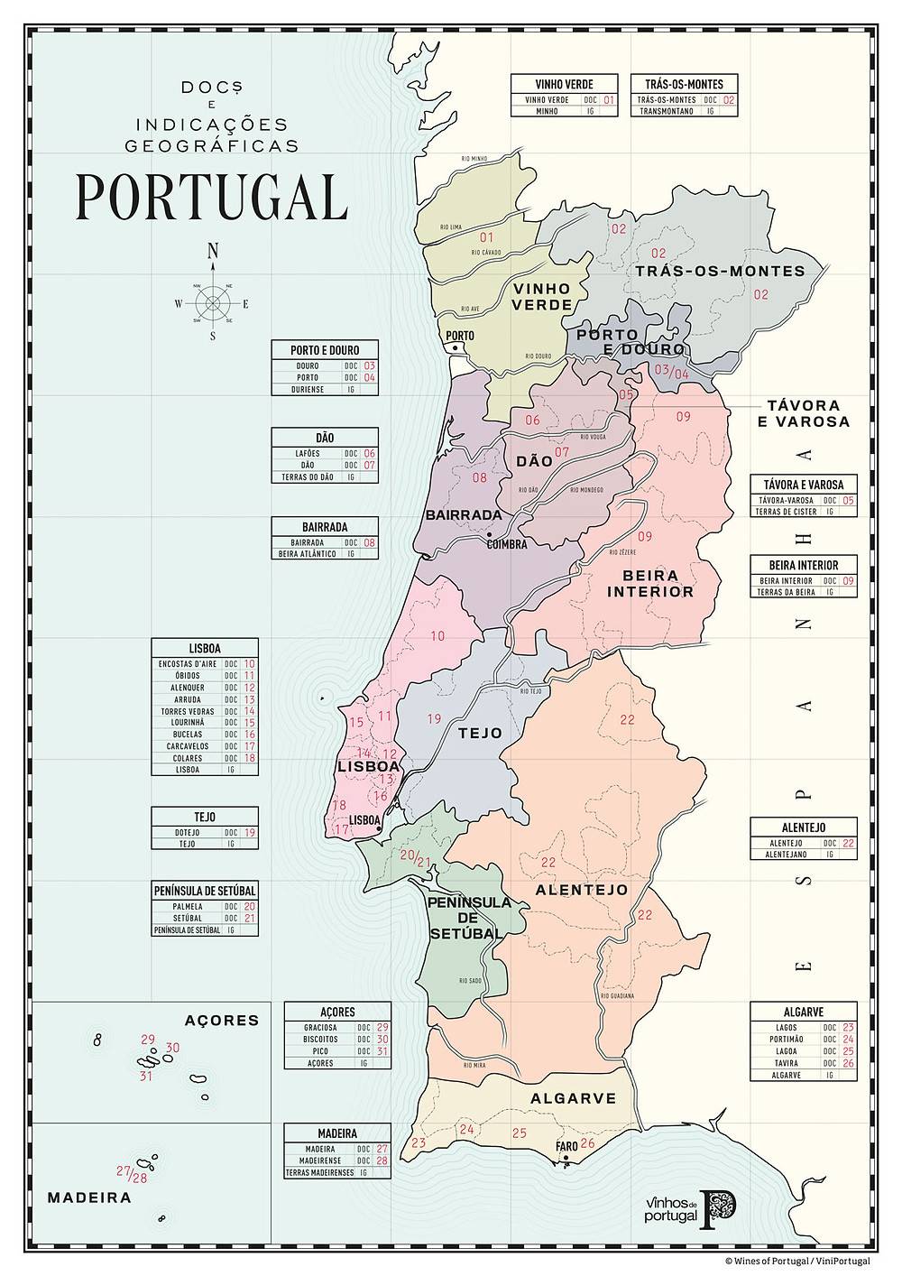 Geographical indications of Portuguese wine regions. Image source: https://www.viniportugal.pt