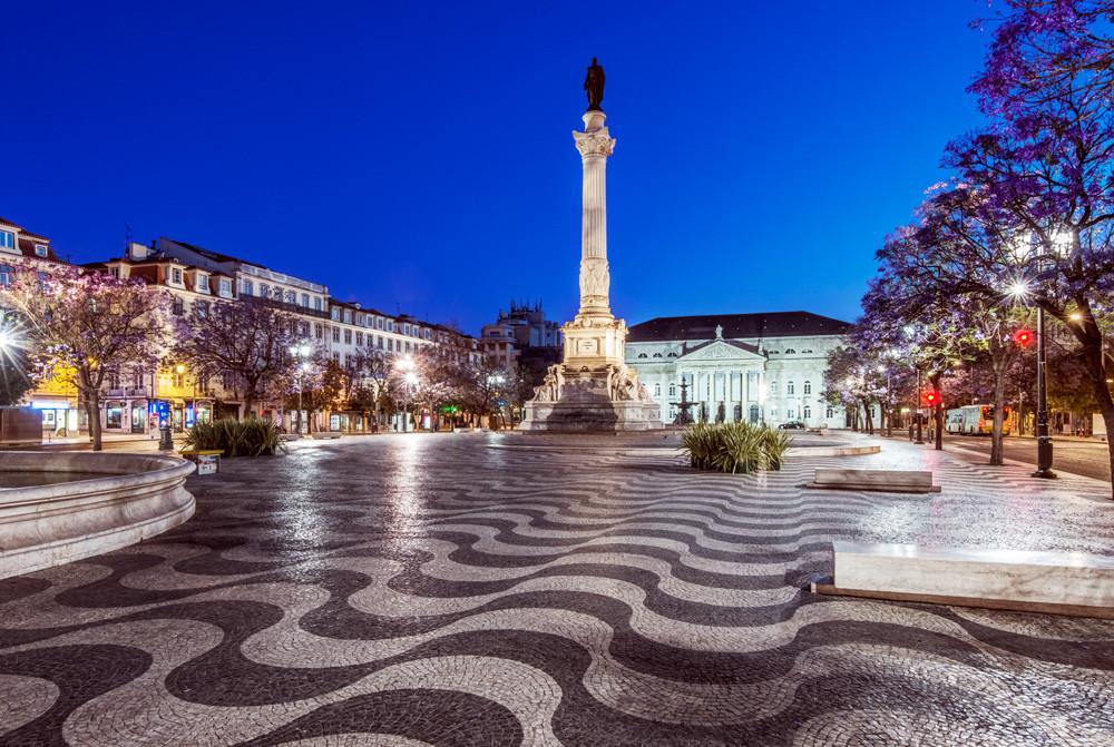 Rossio square Lisbon cobblestone pavement