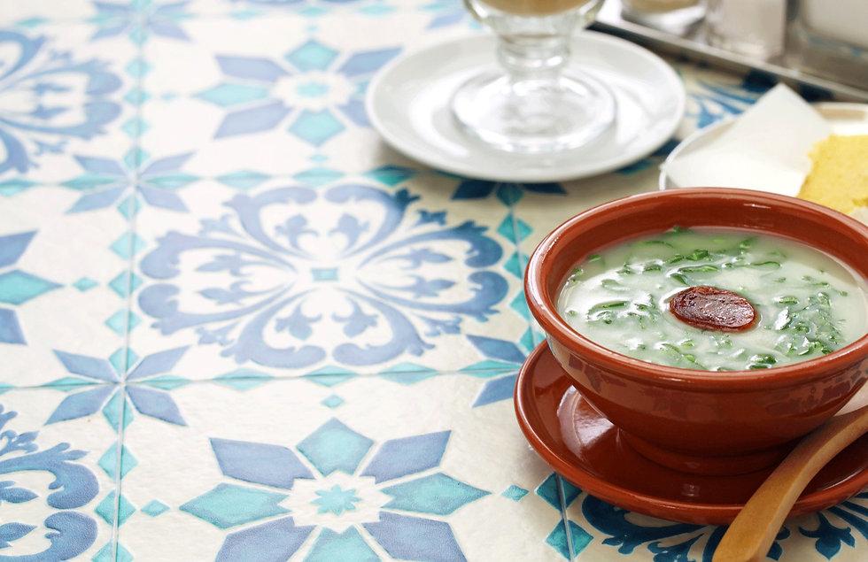 Caldo verde soup chouriço traditional Portuguese cuisine