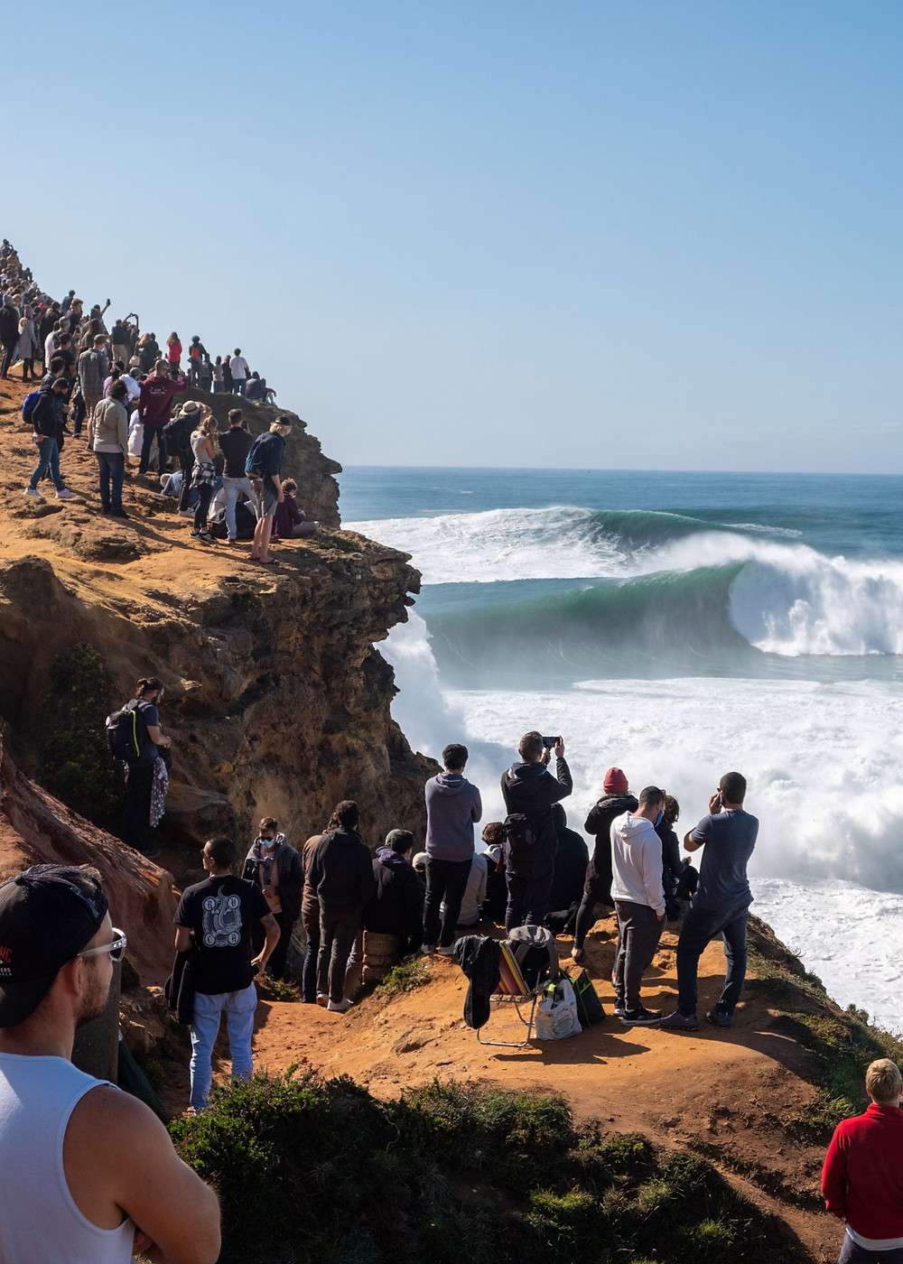 Thousands of people head to Praia do Norte every winter to see the giant waves of Nazaré
