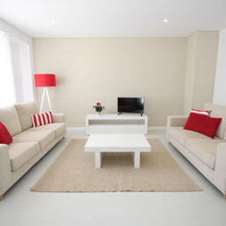 Red and beige living area