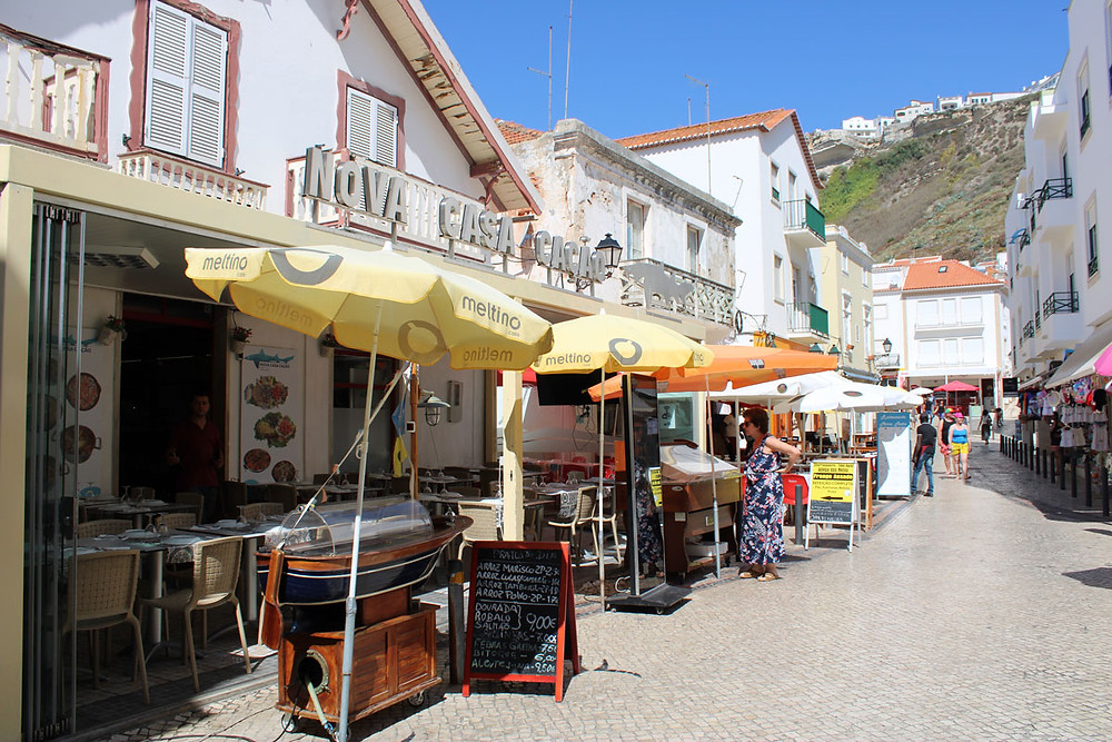 Restaurants in Nazare's historical centre Portugal
