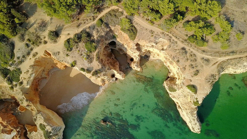 Aerial views over sand cliffs Algarve Portugal