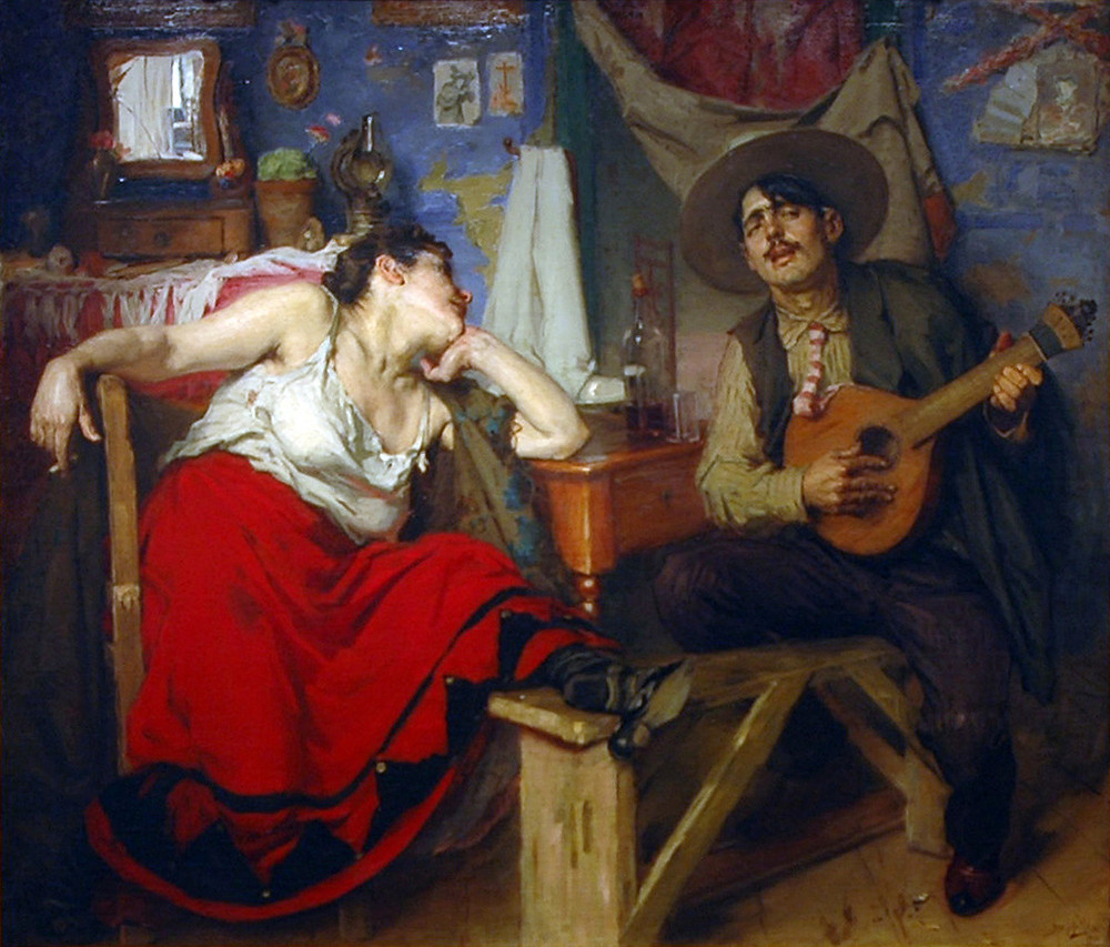 """A Severa"", on the left, is considered Lisbon's first Fado singer. Painting by José Malhoa"
