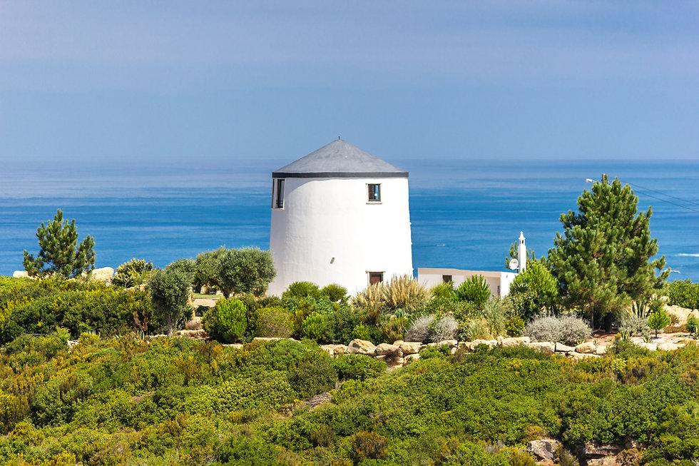 Portuguese windmills Silver Coast ocean Serra da Pescaria