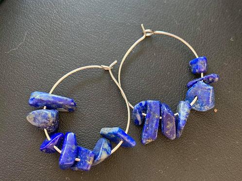 Blue Gemstone Hoop Earrings