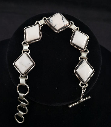 Sterling Silver White Buffalo Chain-link Bracelet (J0083)