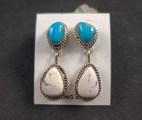Sterling Silver Morenci and White Buffalo Earrings (J0098)