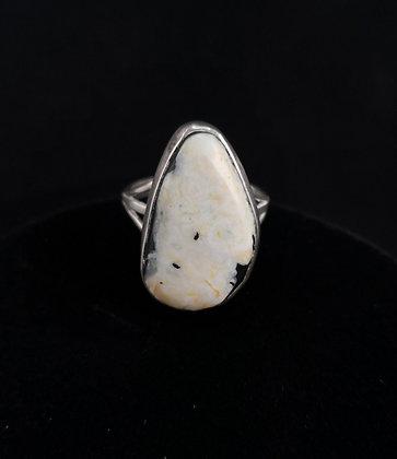 Sterling Silver White Buffalo Ring (J0036)