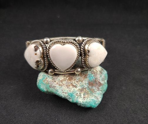 Sterling Silver White Buffalo Bracelet (J0109)