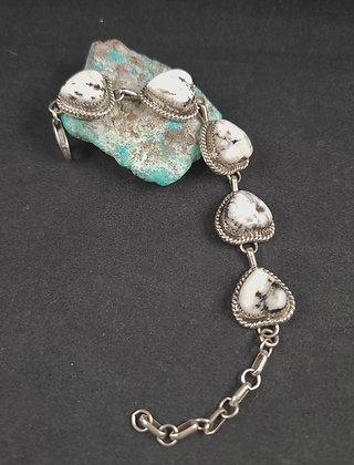 Sterling Silver White Buffalo Chain-link Bracelet (J0103)