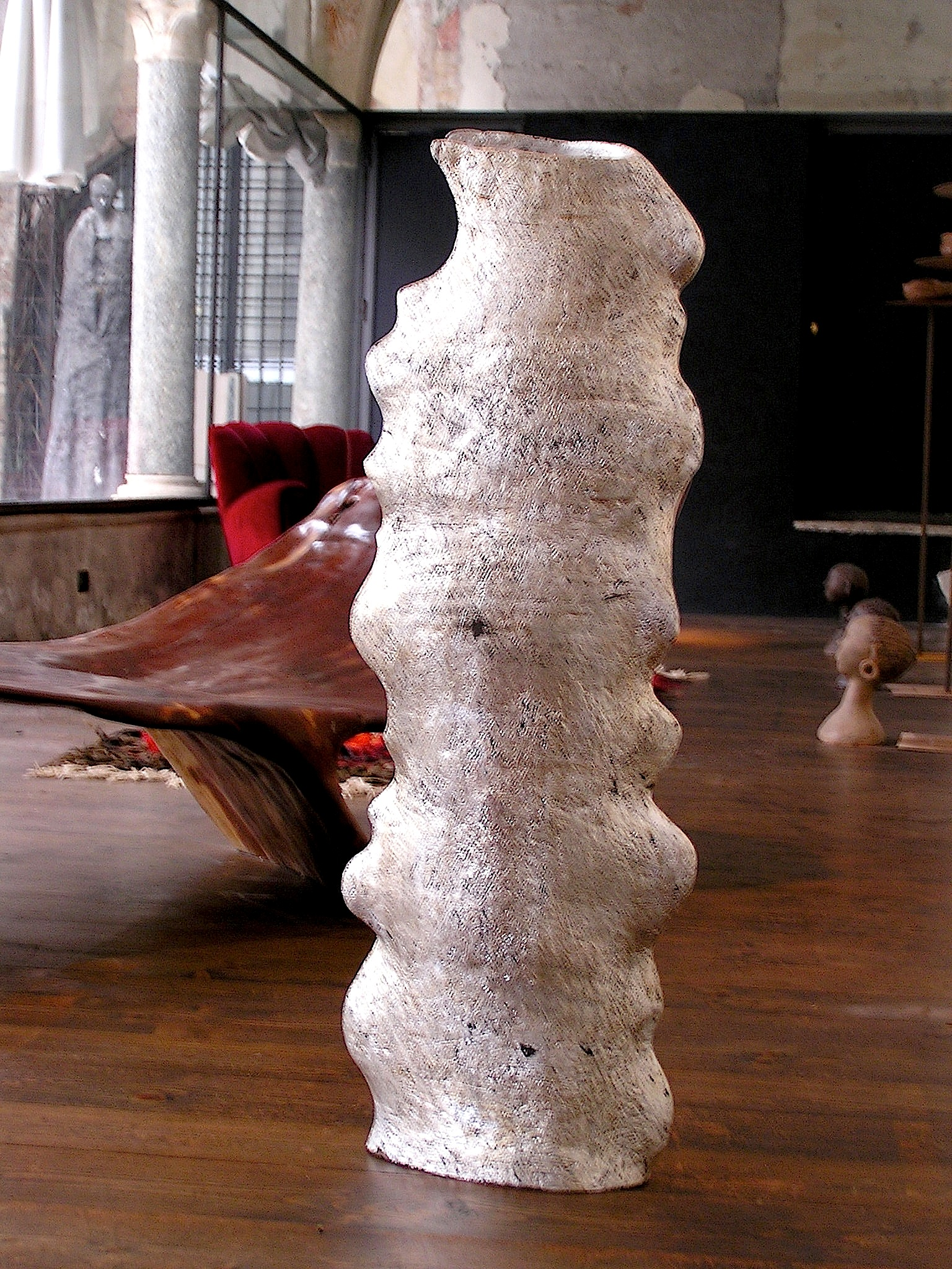 Vaso in ceramica foglia argento