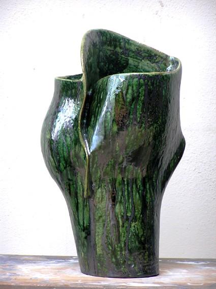 Vaso in ceramica verde