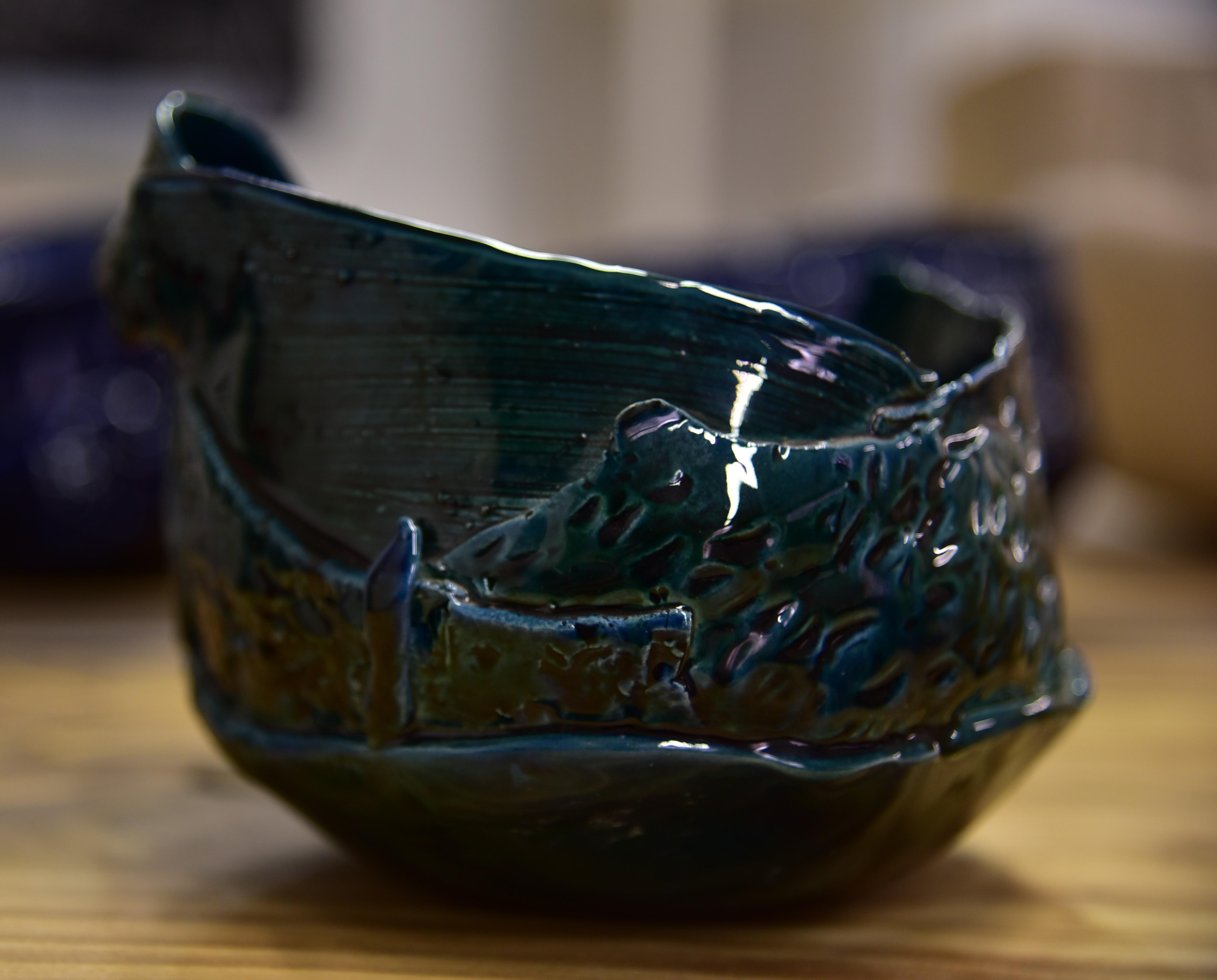 Ciotola in ceramica blu petrolio