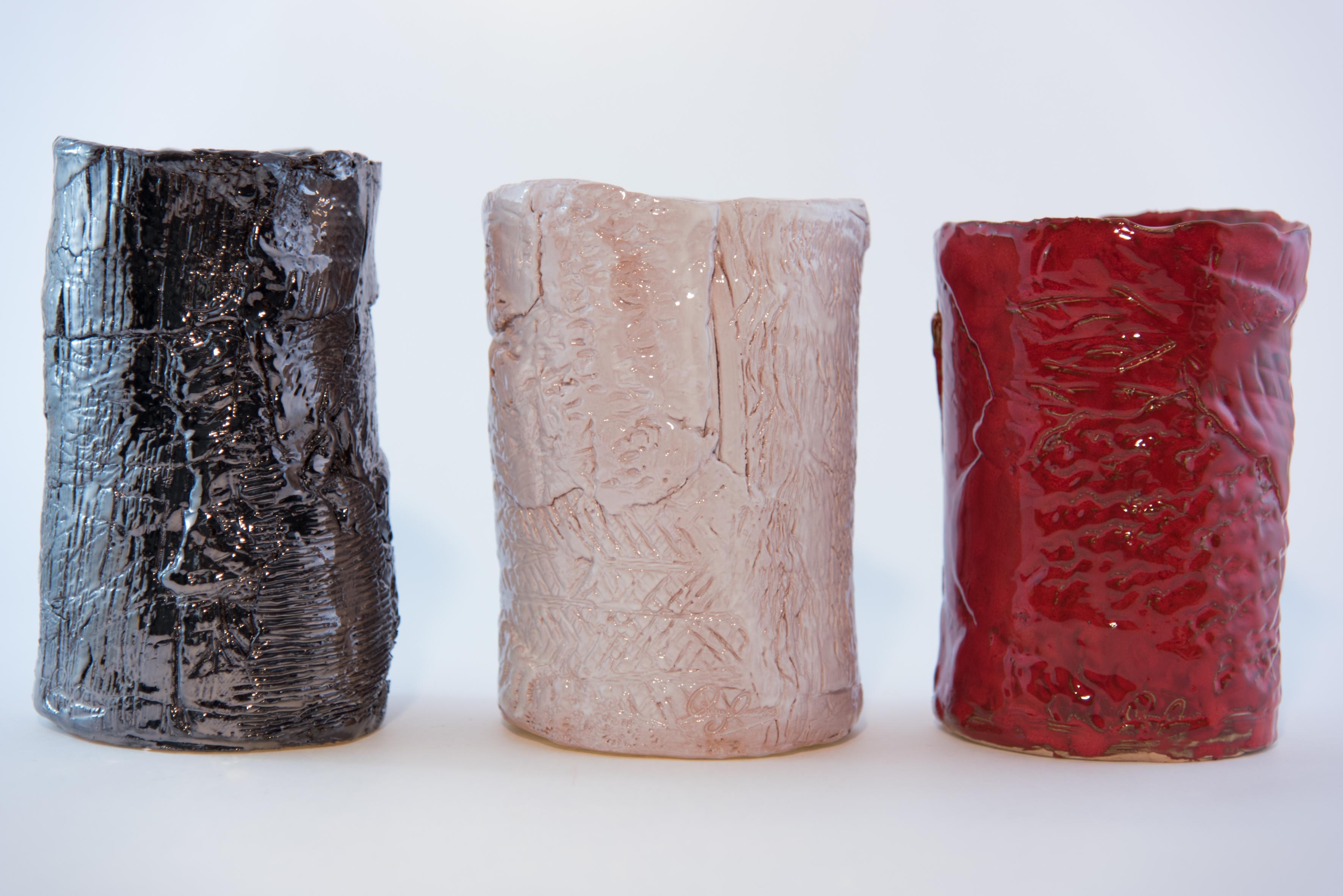Vaso in ceramica cilindro bianco