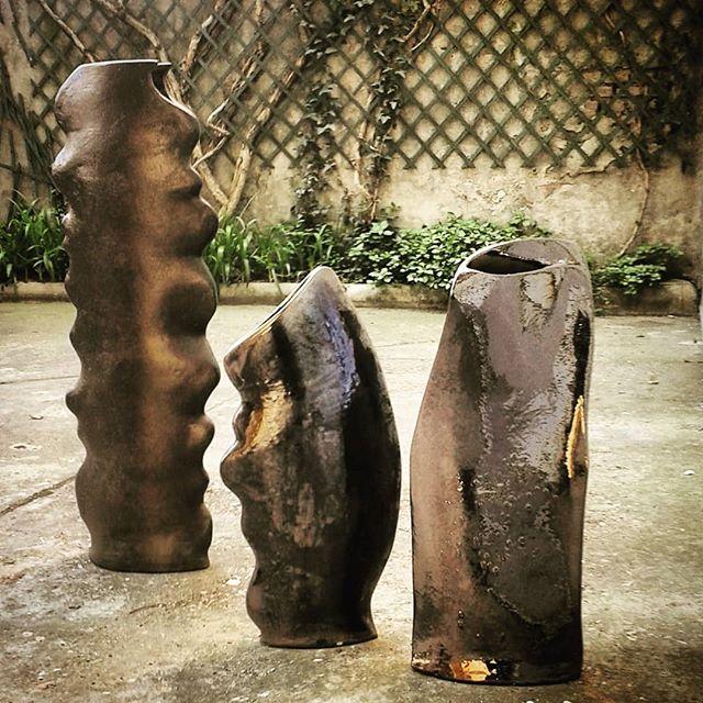 Vaso in ceramica metallizzati
