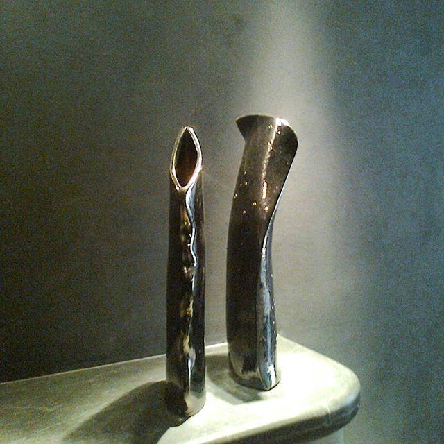 Vaso in ceramica alti stretti metall