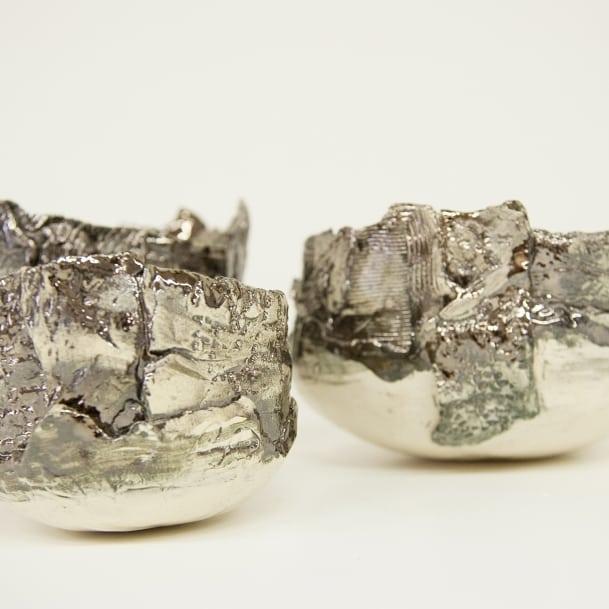 Ciotola in ceramica bianca e argento