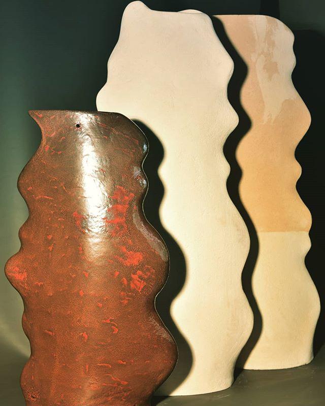 Vaso in ceramica onde bianco beige