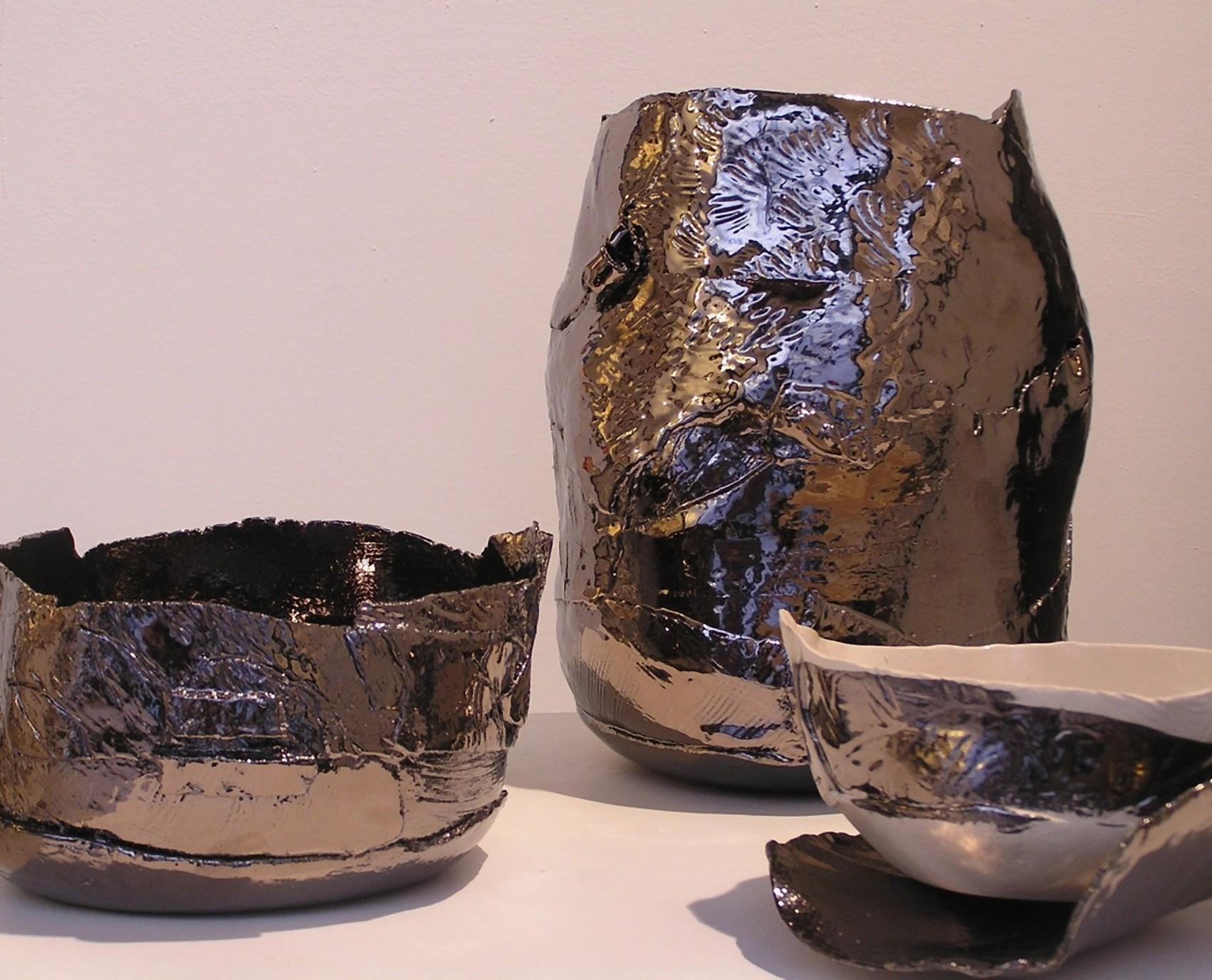 Vaso in ceramica metallo e ciotola