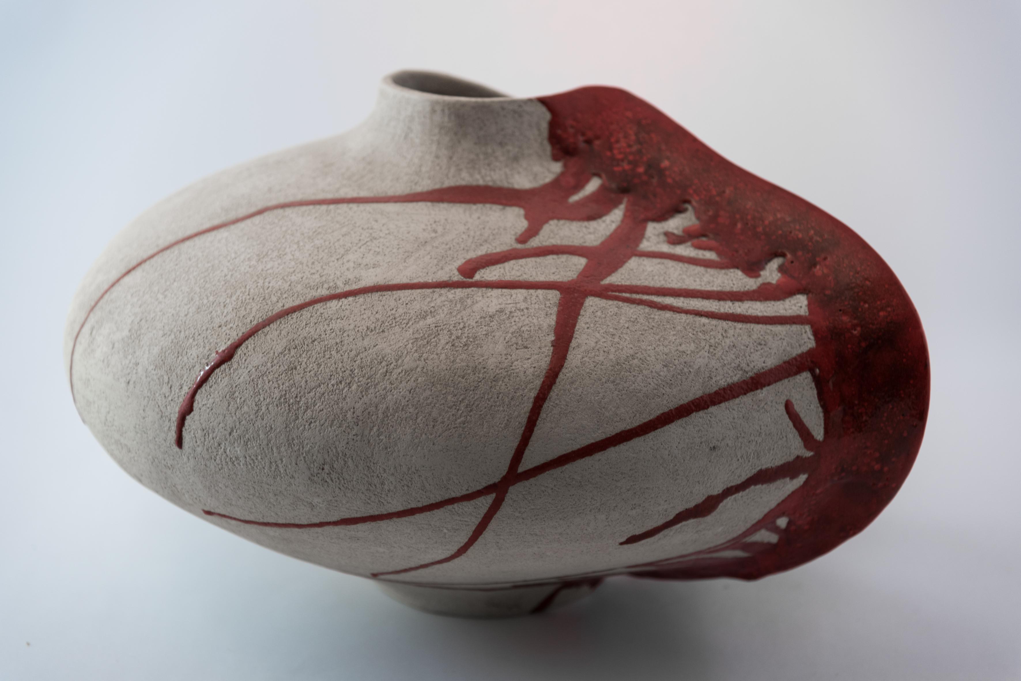 Vaso in ceramica rosso grande