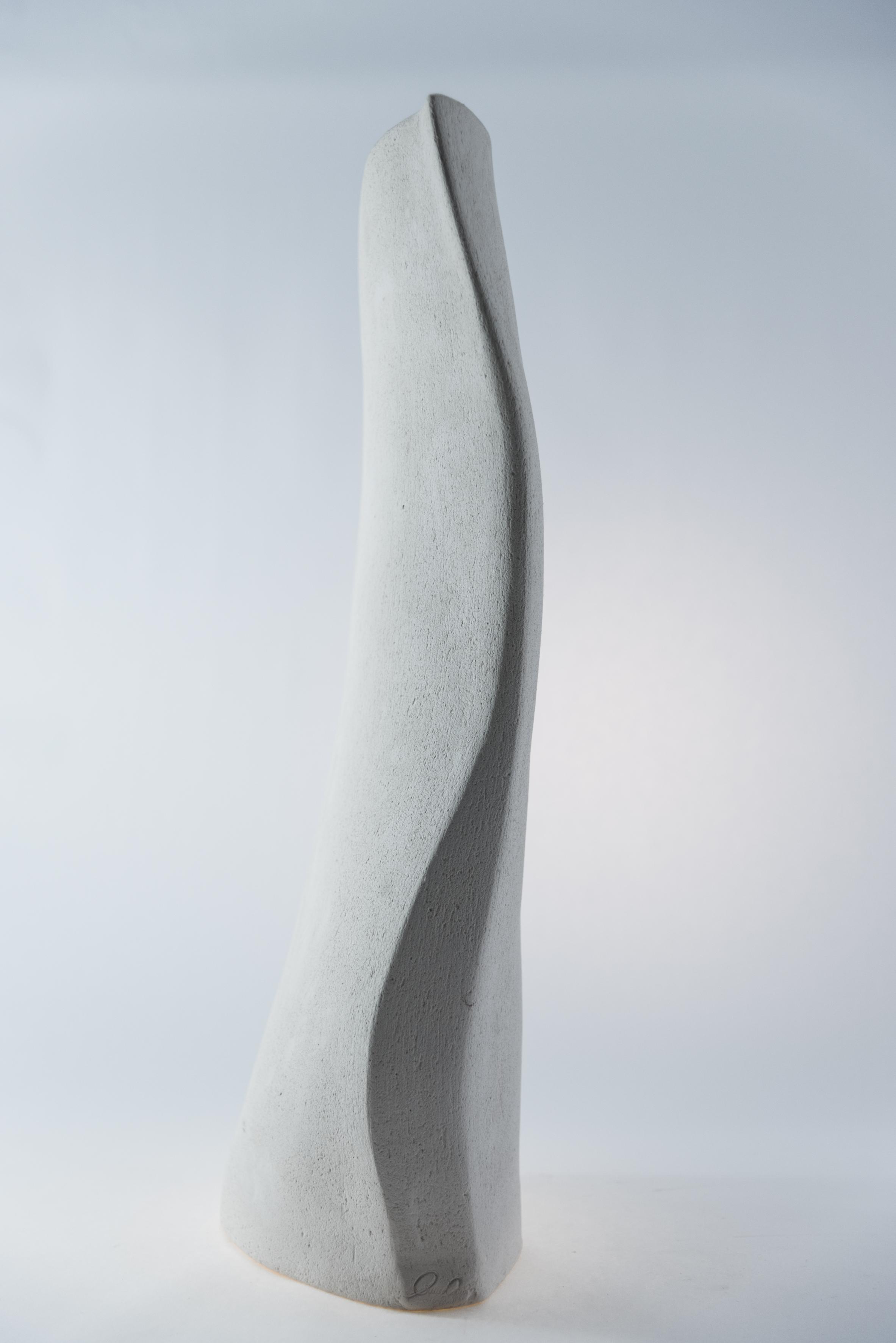 Vaso in ceramica bianco stretto