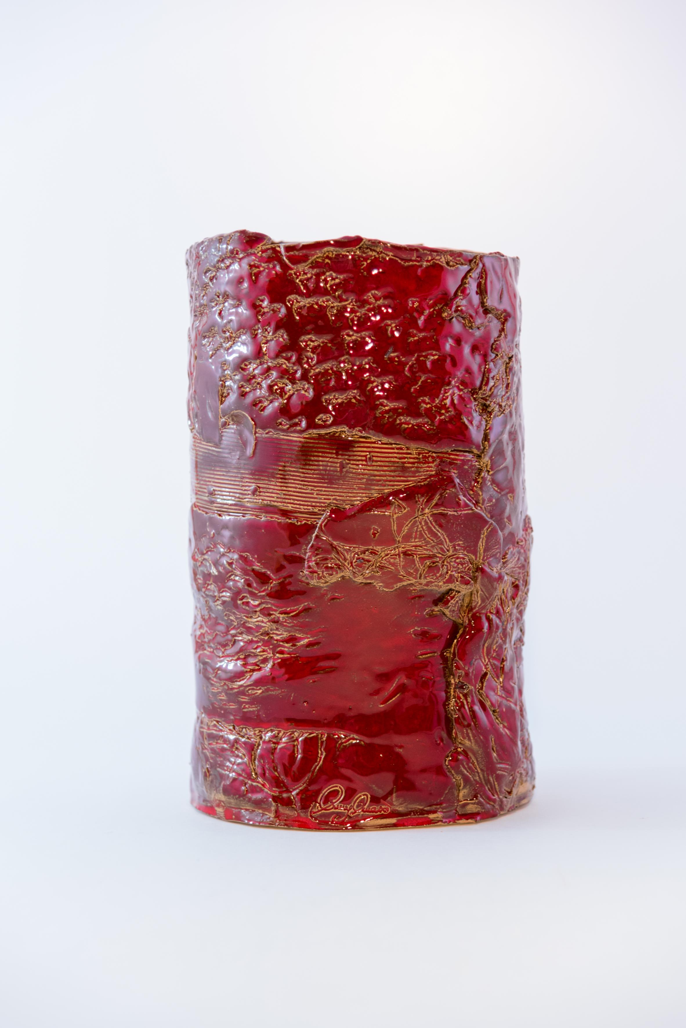 Vaso in ceramica cilindro rosso