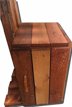 escritorio en madera rustico con vidrio cajn estante