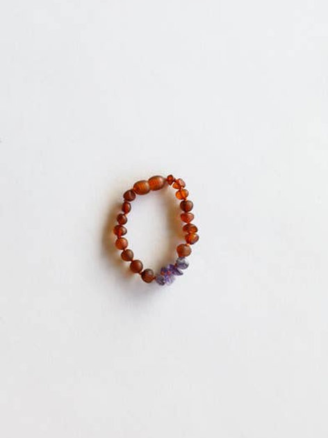 Canyonleaf Raw Cognac Amber and Amethyst Kids Anklet