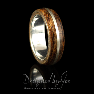 Teak Wood Ring with Argentium Inlay
