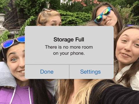 No Space? No Problem.  Free easy fix iPhone out of storage issues.