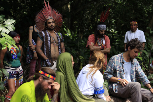 Visitantes na floresta