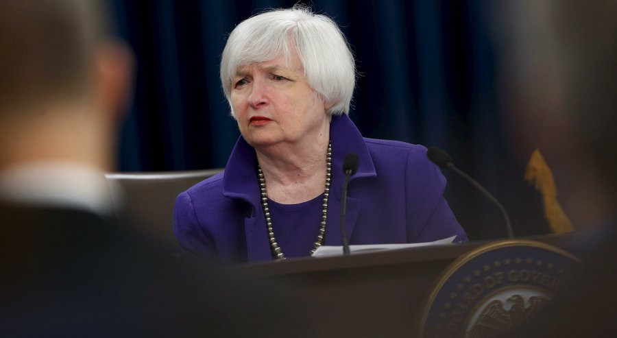 U.S. Federal Reserve Chairman Janet Yellen listens to a reporter's question during a news conference to announce raised interest rates in Washington December 16, 2015. REUTERS/Jonathan Ernst JONATHAN ERNST