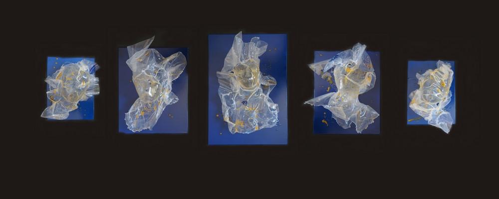 les 5 Backwashes sur toile bleue et pigments