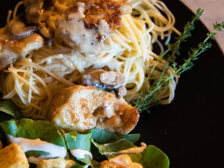 White Wine Mushroom Asiago Chicken with Angel Hair Pasta