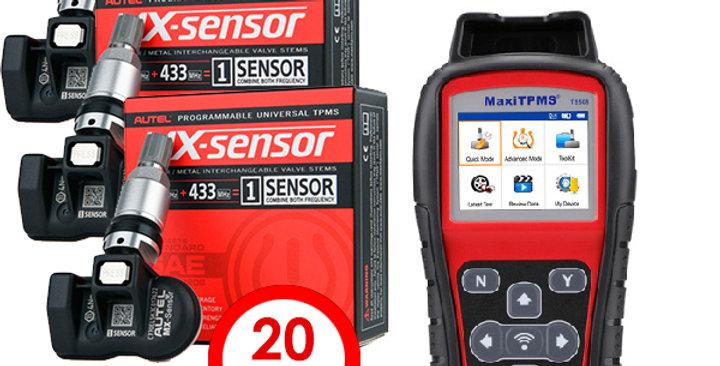 Диагностический сканер AUTEL TS508 и 20 датчиков давления колес TPMS
