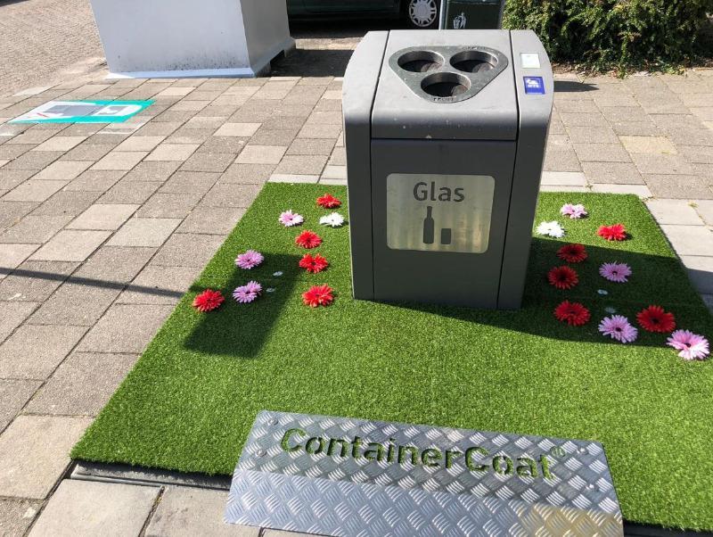 Fleurige afvalcontainer