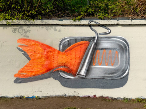 Fish-can mural in zurich