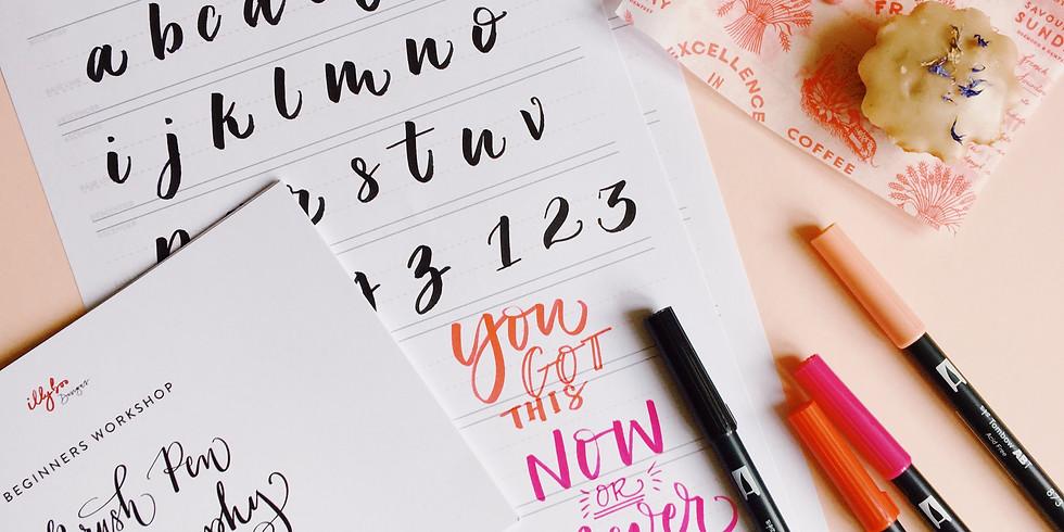 Beginners Brush Pen Calligraphy + Cake - £45
