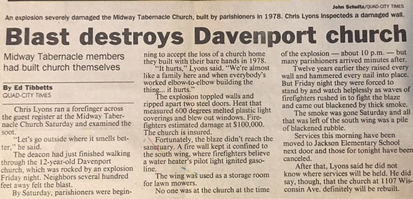 Midway Tabernacle Davenport Fire