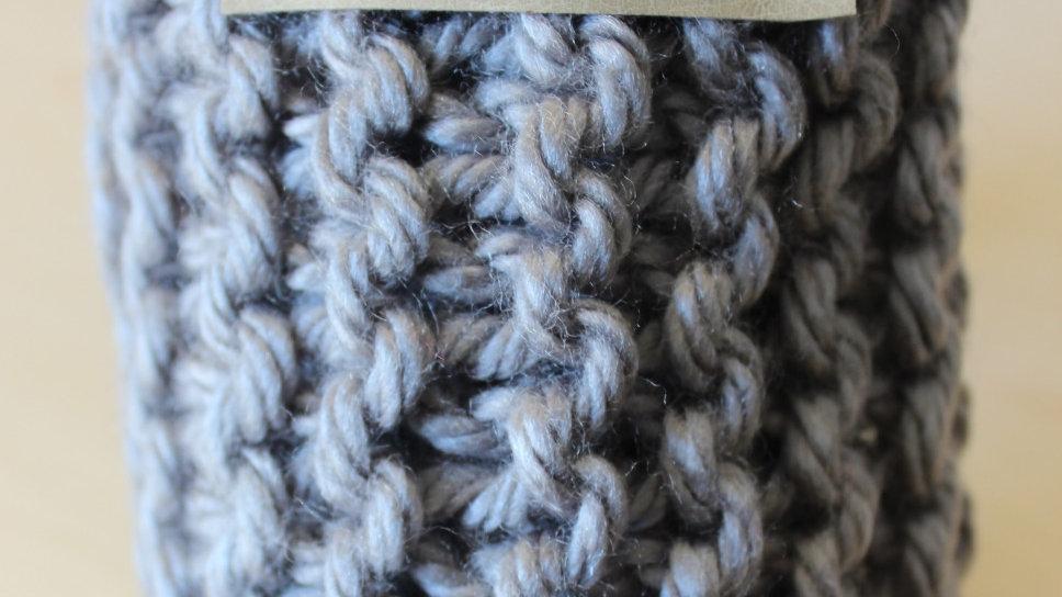 Acrylic Hand Knit Infinity Scarf // LIGHT GREY