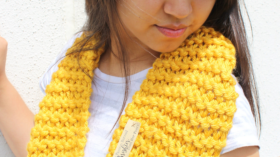 Acrylic Hand Knit Infinity Scarf // GOLD