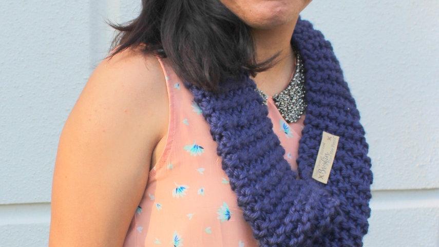 Acrylic Hand Knit Infinity Scarf //  NAVY