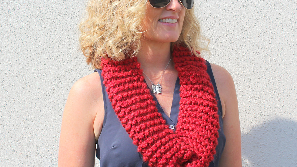 Acrylic Hand Knit Infinity Scarf // RED