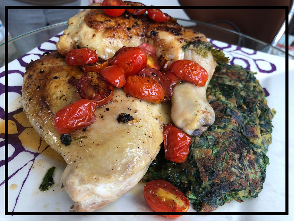 Chicken Under a Brick with Spinach and Lentil Skillet Cakes