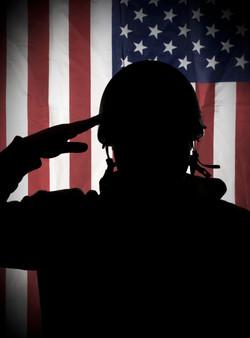 American (USA) soldier saluting to USA f
